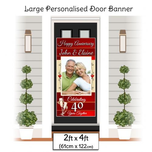 Personalised 40th Ruby Wedding Anniversary Door PHOTO Banner Poster ~ N16